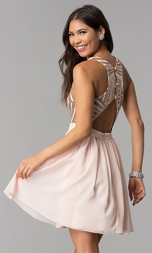 Image of rose gold short homecoming dress with sequins. Style: MCR-2555 Back Image