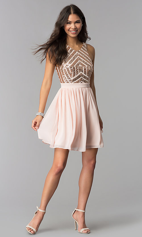 Image of rose gold short homecoming dress with sequins. Style: MCR-2555 Detail Image 3