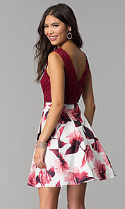 Image of short burgundy red party dress for homecoming. Style: MCR-2556 Back Image