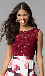 Image of short burgundy red party dress for homecoming. Style: MCR-2556 Detail Image 1