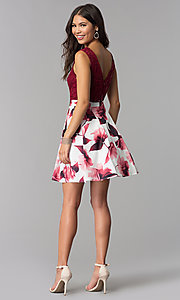 Image of short burgundy red party dress for homecoming. Style: MCR-2556 Detail Image 3