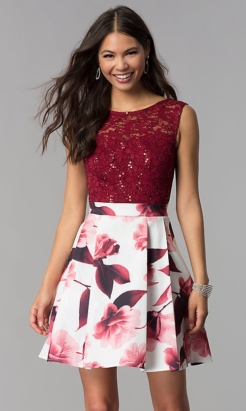 Image of short burgundy red party dress for homecoming. Style: MCR-2556 Front Image