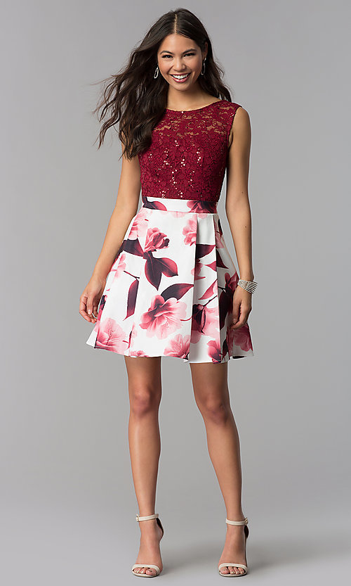 Image of short burgundy red party dress for homecoming. Style: MCR-2556 Detail Image 2