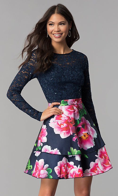 Image of navy blue long-sleeve lace-bodice homecoming dress. Style  MCR 3adf15ffc