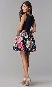 Image of sleeveless hoco party dress with floral-print skirt. Style: MCR-1995 Detail Image 3
