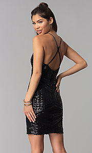 Image of short v-neck art-deco sequin homecoming party dress. Style: MCR-1990 Back Image