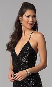 Image of short v-neck art-deco sequin homecoming party dress. Style: MCR-1990 Detail Image 1