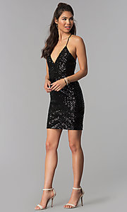 Image of short v-neck art-deco sequin homecoming party dress. Style: MCR-1990 Detail Image 2