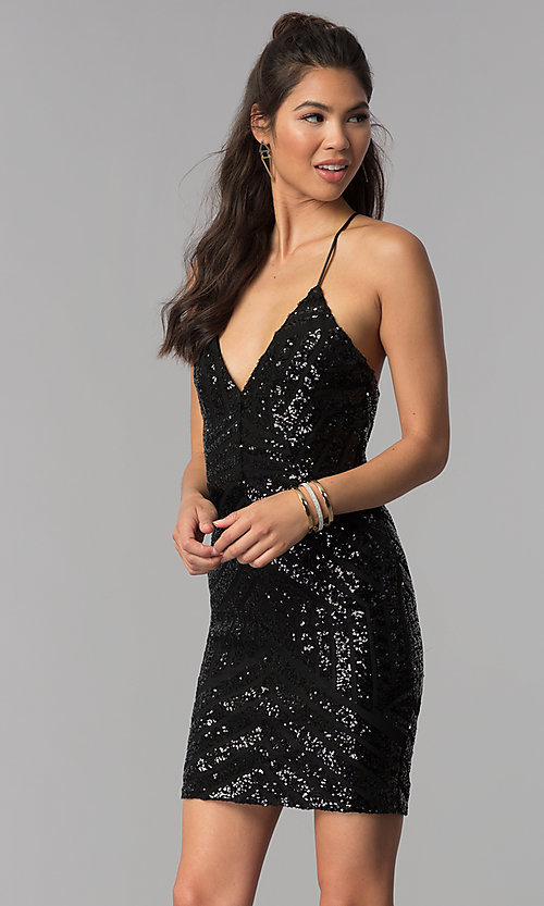 Image of short v-neck art-deco sequin homecoming party dress. Style: MCR-1990 Front Image