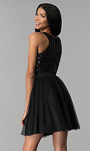 Image of sequin-bodice short homecoming party dress. Style: MCR-2582 Back Image