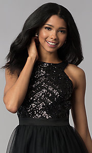 Image of sequin-bodice short homecoming party dress. Style: MCR-2582 Detail Image 2