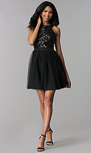 Image of sequin-bodice short homecoming party dress. Style: MCR-2582 Detail Image 3