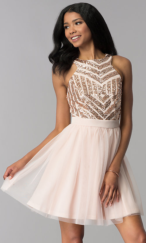 Image of sequin-bodice short homecoming party dress. Style: MCR-2582 Front Image