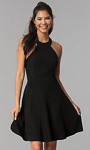 Image of high-neck little black homecoming party dress. Style: MCR-1970 Front Image