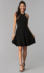 Image of high-neck little black homecoming party dress. Style: MCR-1970 Detail Image 3