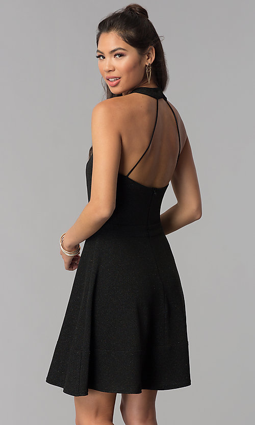 Image of high-neck little black homecoming party dress. Style: MCR-1970 Back Image