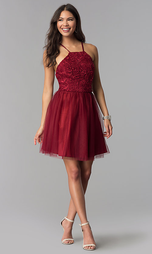 Image of short lace and taffeta homecoming dress with tulle. Style: MCR-2570 Detail Image 1