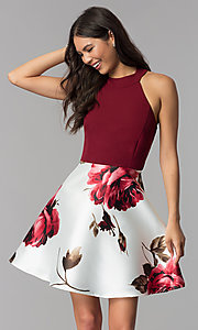 Image of floral-print-skirt burgundy short homecoming dress. Style: MCR-2569 Front Image