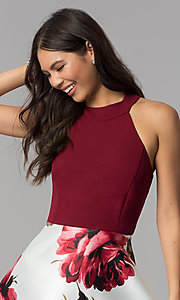 Image of floral-print-skirt burgundy short homecoming dress. Style: MCR-2569 Detail Image 1