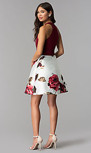 Image of floral-print-skirt burgundy short homecoming dress. Style: MCR-2569 Detail Image 3