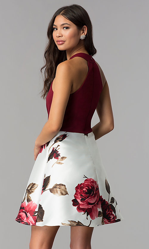 Image of floral-print-skirt burgundy short homecoming dress. Style: MCR-2569 Back Image