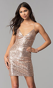 Image of short sequin homecoming party dress with open back.  Style: MCR-1994 Front Image