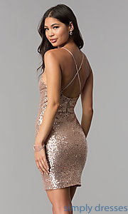 Image of short sequin homecoming party dress with open back.  Style: MCR-1994 Back Image