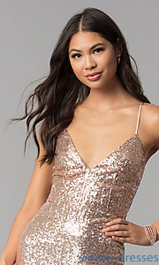 Image of short sequin homecoming party dress with open back.  Style: MCR-1994 Detail Image 1