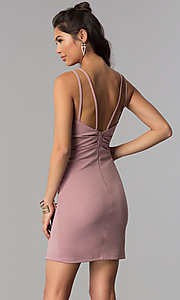 Image of short homecoming party dress with surplice v-neck. Style: MCR-1972 Back Image