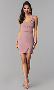 Image of short homecoming party dress with surplice v-neck. Style: MCR-1972 Detail Image 2