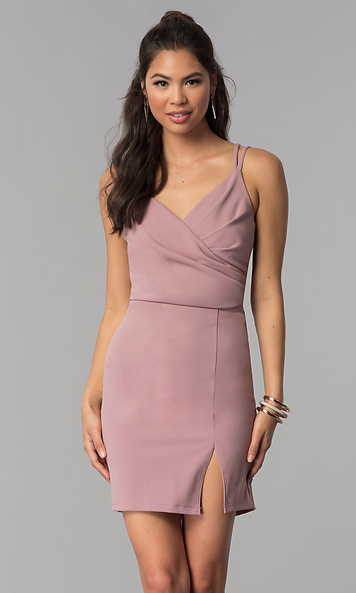 Image of short homecoming party dress with surplice v-neck. Style: MCR-1972 Front Image