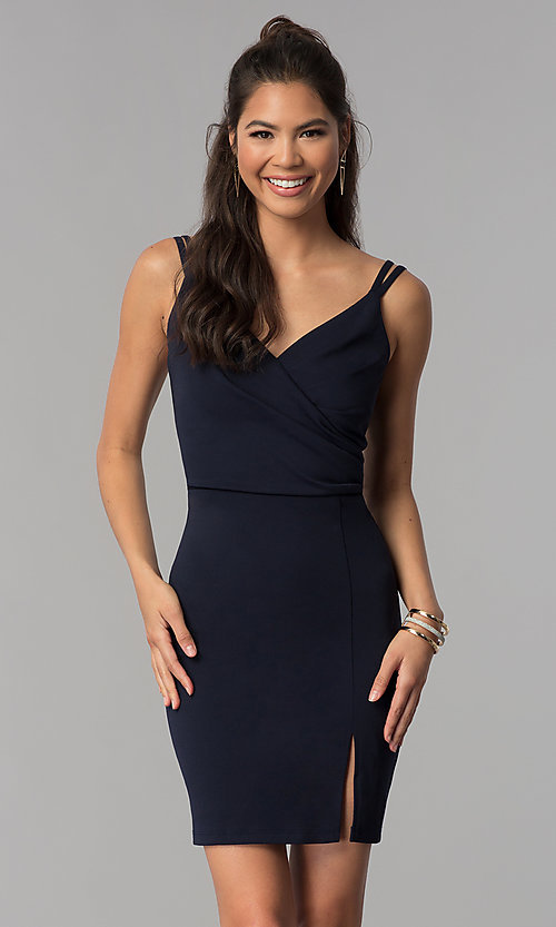 Image of short homecoming party dress with surplice v-neck. Style: MCR-1972 Detail Image 3