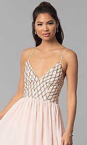 Image of long open-back sequined v-neck chiffon prom dress. Style: MCR-2602 Detail Image 1