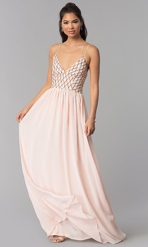 Image of long open-back sequined v-neck chiffon prom dress. Style: MCR-2602 Front Image