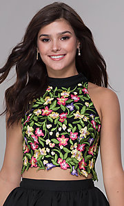 Image of two-piece embroidered-top short homecoming dress. Style: NA-6342 Detail Image 1