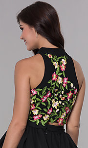Image of two-piece embroidered-top short homecoming dress. Style: NA-6342 Detail Image 2