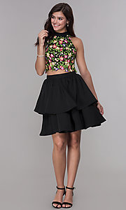 Image of two-piece embroidered-top short homecoming dress. Style: NA-6342 Detail Image 3
