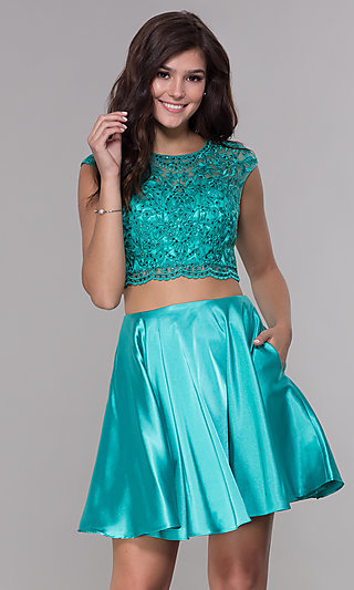Two-Piece Corset-Back Short Satin Homecoming Dress