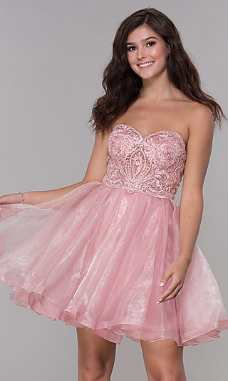 Rose Pink Short Strapless Homecoming Party Dress