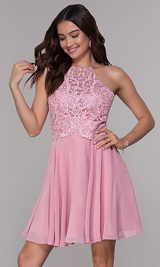 Short Chiffon Homecoming Party Dress with Embroidery