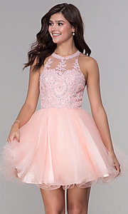 Image of embroidered-applique-bodice homecoming short dress. Style: NA-B652 Detail Image 5
