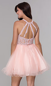 Image of embroidered-applique-bodice homecoming short dress. Style: NA-B652 Detail Image 6