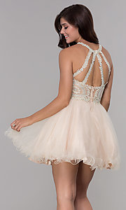 Image of embroidered-applique-bodice homecoming short dress. Style: NA-B652 Detail Image 4