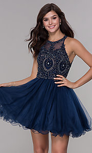 Image of embroidered-applique-bodice homecoming short dress. Style: NA-B652 Front Image