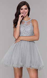 Image of embroidered-applique-bodice homecoming short dress. Style: NA-B652 Detail Image 1