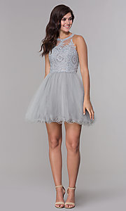 Image of embroidered-applique-bodice homecoming short dress. Style: NA-B652 Detail Image 2