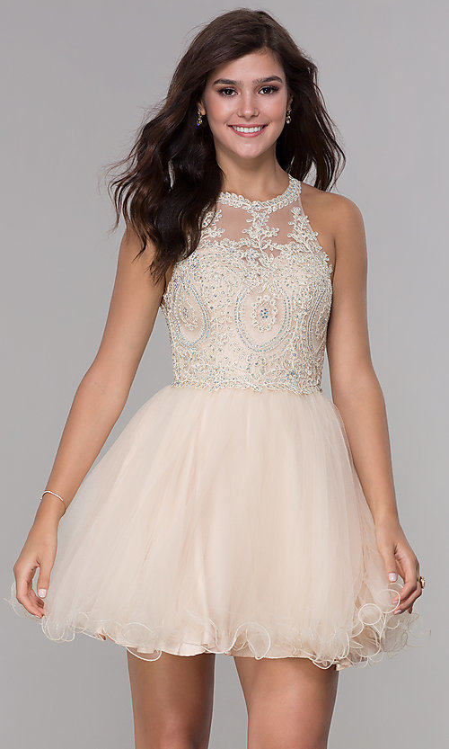 Image of embroidered-applique-bodice homecoming short dress. Style: NA-B652 Detail Image 3