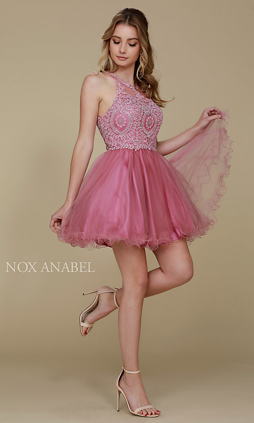 Image of embroidered-applique-bodice homecoming short dress. Style: NA-B652 Detail Image 7
