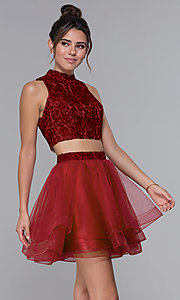 Image of two-piece embroidered-top homecoming short dress. Style: DQ-PL-3042 Front Image