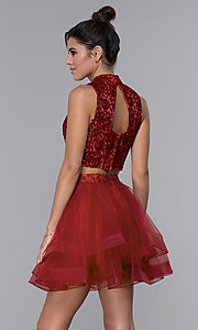 Image of two-piece embroidered-top homecoming short dress. Style: DQ-PL-3042 Back Image